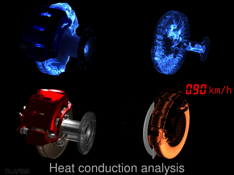 Thermo-fluid analysis and heat conduction analysis of a disk brake